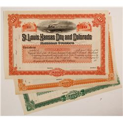 St Louis, Kansas City and Colorado Railroad Company Stock Certificate (3)