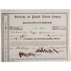 Stockbridge and Pittsfield Railroad Company Stock Certificate