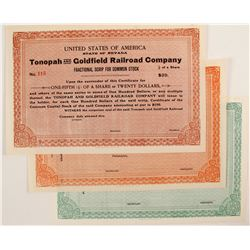 Tonopah and Goldfield Railroad CO certificates (3)