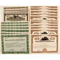 Waterloo, Cedar Falls & Northern Railroad Stock Certificates