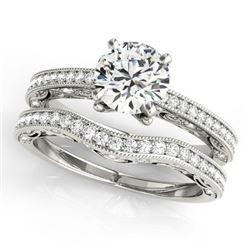 1.02 CTW Certified VS/SI Diamond Solitaire 2Pc Wedding Set Antique 14K White Gold - REF-150M5H - 315
