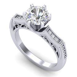 1.51 CTW VS/SI Diamond Solitaire Art Deco Ring 18K White Gold - REF-536T4M - 37076