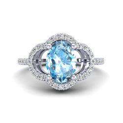 2 CTW Topaz & Micro Pave VS/SI Diamond Ring 10K White Gold - REF-32F9N - 20976