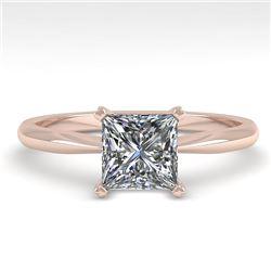 1 CTW Princess Cut VS/SI Diamond Engagement Designer Ring 18K Rose Gold - REF-282K2W - 32414
