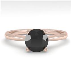 1.0 CTW Black Diamond Engagement Designer Ring 14K Rose Gold - REF-39F3N - 38454