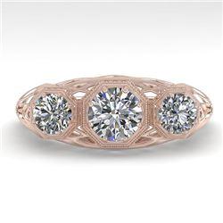 1.00 CTW Past Present Future VS/SI Diamond Ring 18K Rose Gold - REF-162A9X - 36056