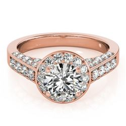 1.5 CTW Certified VS/SI Diamond Solitaire Halo Ring 18K Rose Gold - REF-242W2F - 26782
