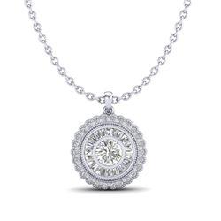 2.11 CTW VS/SI Diamond Solitaire Art Deco Stud Necklace 18K White Gold - REF-309N3Y - 37085