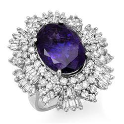 13.25 CTW Tanzanite & Diamond Ring 18K White Gold - REF-598F9N - 13426