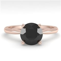 1.50 CTW Black Diamond Engagement Designer Ring 14K Rose Gold - REF-51H3A - 38469