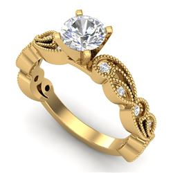 1.01 CTW VS/SI Diamond Solitaire Art Deco Ring 18K Yellow Gold - REF-218N2Y - 37318