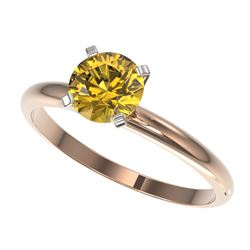 1.01 CTW Certified Intense Yellow SI Diamond Solitaire Engagement Ring 10K Rose Gold - REF-180M2H -