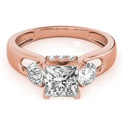 1.35 CTW Certified VS/SI Princess Cut Diamond 3 Stone Ring 18K Rose Gold - REF-238W2F - 28033