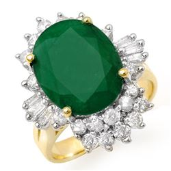 5.41 CTW Emerald & Diamond Ring 14K Yellow Gold - REF-114F2N - 13274
