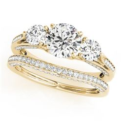 2.05 CTW Certified VS/SI Diamond 3 Stone 2Pc Wedding Set 14K Yellow Gold - REF-447X3T - 32023