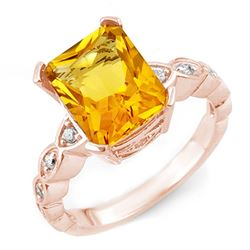 4.25 CTW Citrine & Diamond Ring 10K Rose Gold - REF-33M3H - 10850