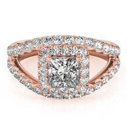1.85 CTW Certified VS/SI Princess Diamond Solitaire Halo Ring 18K Rose Gold - REF-261T3M - 27196