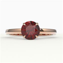 2 CTW Garnet Designer Inspired Solitaire Engagement Ring 14K Rose Gold - REF-24Y9K - 22222