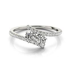 1 CTW Certified VS/SI Diamond 2 Stone 2 Stone Ring 18K White Gold - REF-141X3T - 28204