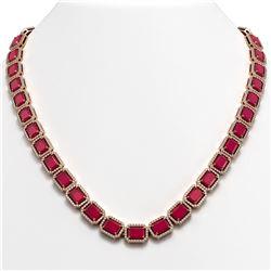 58.59 CTW Ruby & Diamond Halo Necklace 10K Rose Gold - REF-777H8A - 41334