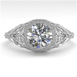 1.01 CTW VS/SI Diamond Solitaire Engagement Ring 18K White Gold - REF-301A9X - 36033