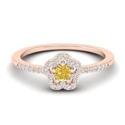 0.40 CTW Citrine & Micro VS/SI Diamond Ring Moon Halo In 10K Rose Gold - REF-20A8X - 21410