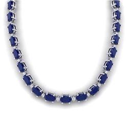 71.85 CTW Sapphire & VS/SI Certified Diamond Eternity Necklace 10K White Gold - REF-563T6M - 29517