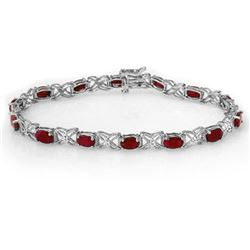 8.55 CTW Ruby & Diamond Bracelet 14K White Gold - REF-78A2X - 13949