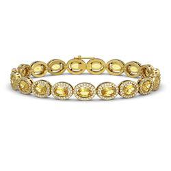 12.73 CTW Fancy Citrine & Diamond Halo Bracelet 10K Yellow Gold - REF-226K9W - 40495