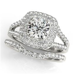 1.54 CTW Certified VS/SI Diamond 2Pc Wedding Set Solitaire Halo 14K White Gold - REF-176A2X - 30903