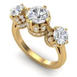 3.06 CTW VS/SI Diamond Solitaire Art Deco 3 Stone Ring 18K Yellow Gold - REF-576N4Y - 36850