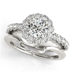 1.75 CTW Certified VS/SI Diamond 2Pc Wedding Set Solitaire Halo 14K White Gold - REF-404N9Y - 31193