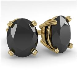 10 CTW Oval Black Diamond Stud Designer Earrings 18K Yellow Gold - REF-234Y5K - 32335