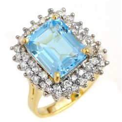 5.10 CTW Blue Topaz & Diamond Ring 14K Yellow Gold - REF-82M8H - 13201