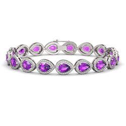 16.76 CTW Amethyst & Diamond Halo Bracelet 10K White Gold - REF-274K4W - 41129