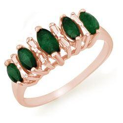 0.70 CTW Emerald Ring 10K Rose Gold - REF-17W6F - 12654