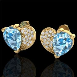 2.50 CTW Sky Blue Topaz & Micro Pave VS/SI Diamond Earrings 10K Yellow Gold - REF-30A2X - 20068
