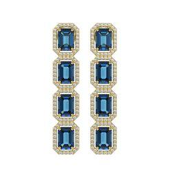 12.02 CTW London Topaz & Diamond Halo Earrings 10K Yellow Gold - REF-152N2Y - 41464