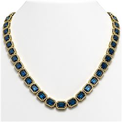 56.69 CTW London Topaz & Diamond Halo Necklace 10K Yellow Gold - REF-700T8M - 41368