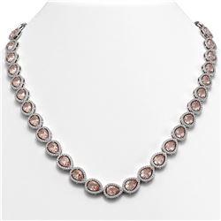35.13 CTW Morganite & Diamond Halo Necklace 10K White Gold - REF-827T8M - 41054