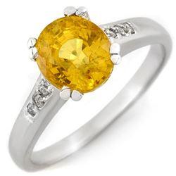 2.35 CTW Yellow Sapphire & Diamond Ring 10K White Gold - REF-36N4Y - 11377