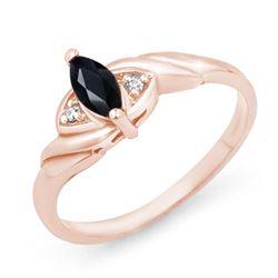 0.26 CTW Blue Sapphire & Diamond Ring 14K Rose Gold - REF-20F5N - 12342