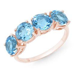 3.66 CTW Blue Topaz Ring 18K Rose Gold - REF-33X8T - 12750
