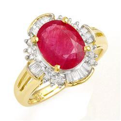 3.83 CTW Ruby & Diamond Ring 14K Yellow Gold - REF-82M5H - 13307