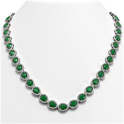 45.93 CTW Emerald & Diamond Halo Necklace 10K White Gold - REF-674H2A - 41042