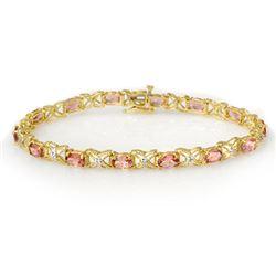 6.0 CTW Pink Tourmaline & Diamond Bracelet 14K Yellow Gold - REF-108N2Y - 14139