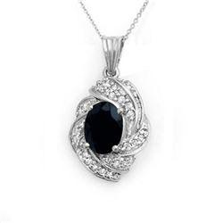3.88 CTW Blue Sapphire & Diamond Pendant 18K White Gold - REF-90K9W - 13098