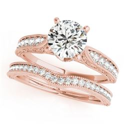 0.95 CTW Certified VS/SI Diamond Solitaire 2Pc Wedding Set Antique 14K Rose Gold - REF-144X2T - 3150