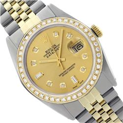 Rolex Men's Two Tone 14K Gold/SS , QuickSet, Diamond Dial & Diamond Bezel  - REF-563T6K