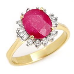 2.02 CTW Ruby & Diamond Ring 14K Yellow Gold - REF-47T8M - 13725